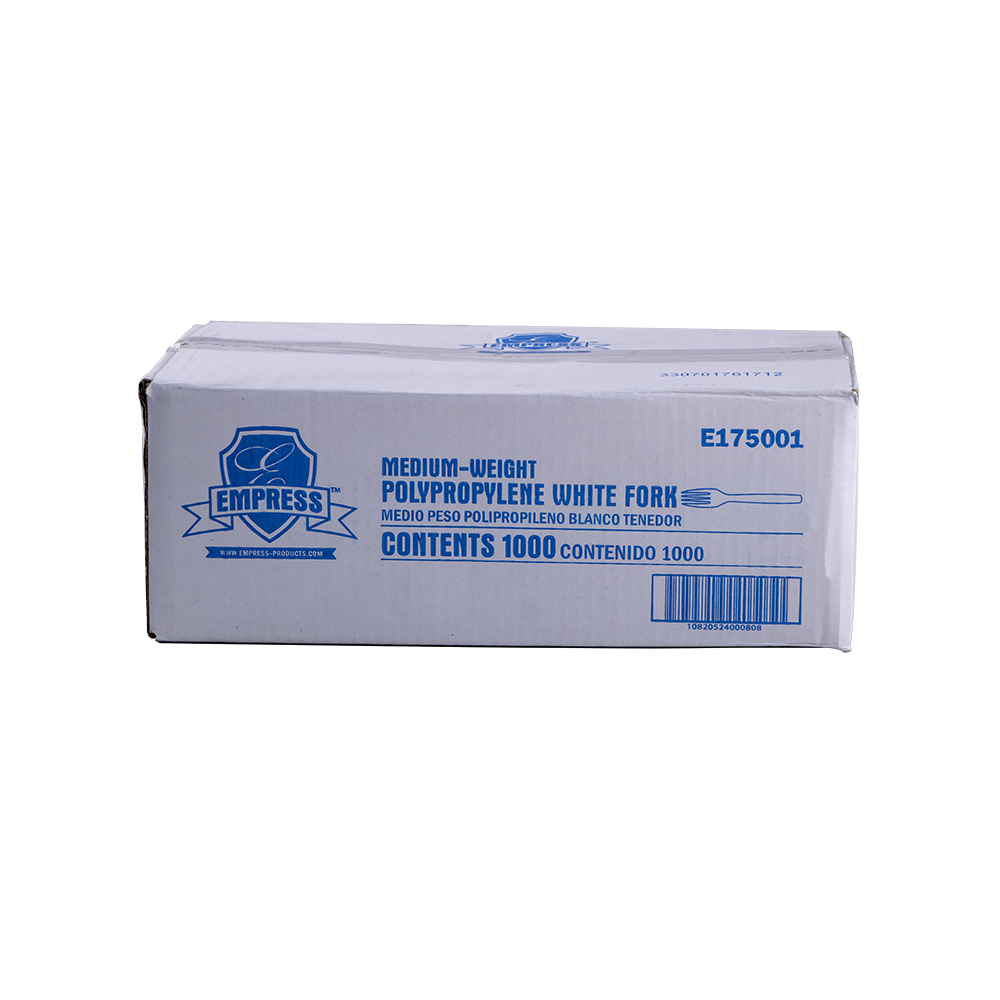 FORK E175001 PLASTIC EMPRESS MED WT POLYPROP WHITE 1000/CS